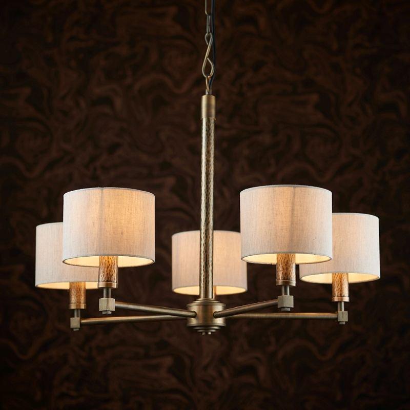 Endon-71345 - Indara - Natural Linen & Hammered Bronze 5 Light Centre Fitting