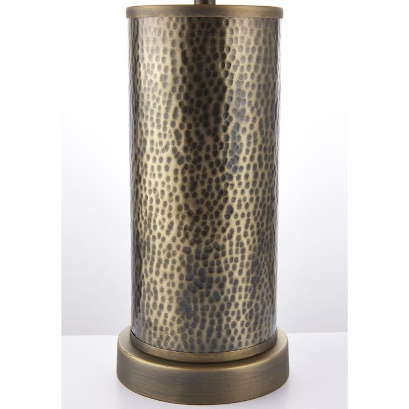 Endon-71591 - Indara - Natural Linen & Hammered Bronze Table Lamp