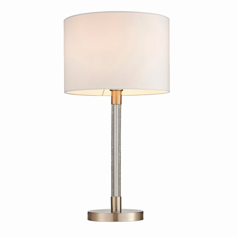 Endon-71621 - Andromeda - White Shade with Satin Chrome Bubble Table Lamp