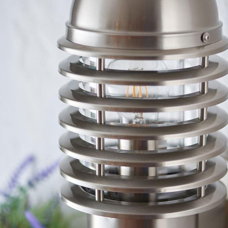 Endon-72381 - Louvre - Stainless Steel Uplight PIR Wall Lamp