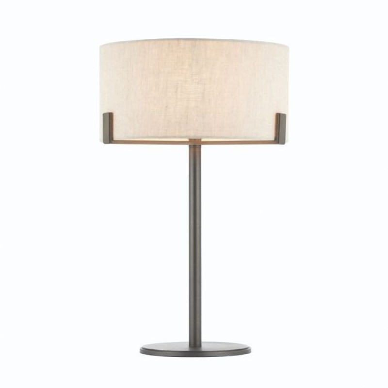 Endon-72631 - Hayfield - Natural Linen Shade with Brushed Bronze Table Lamp