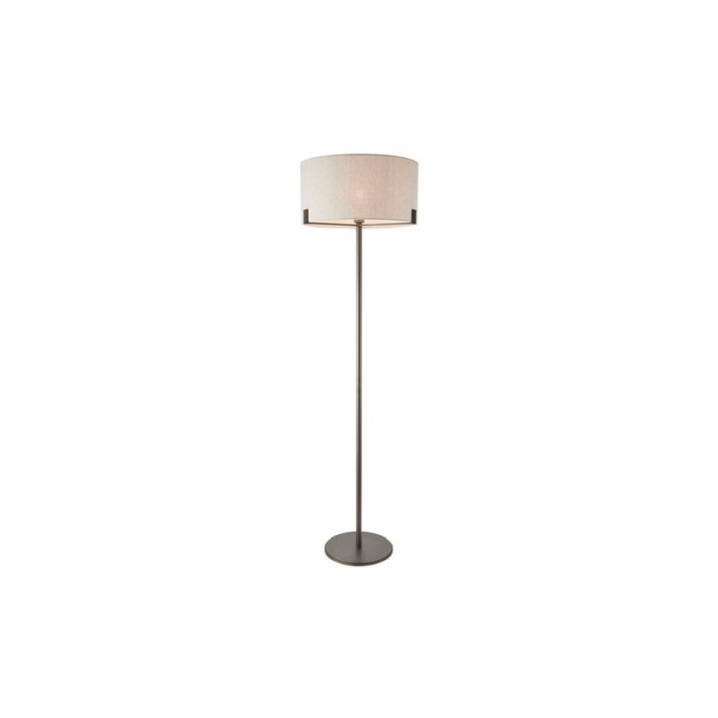 Endon-72634 - Hayfield - Natural Linen Shade with Brushed Bronze Floor Lamp