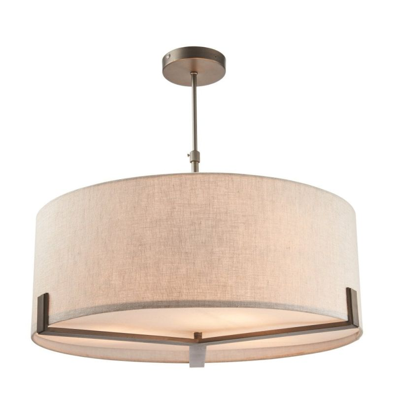 Endon-72635 - Hayfield - Natural Linen with Brushed Bronze 3 Light Pendant