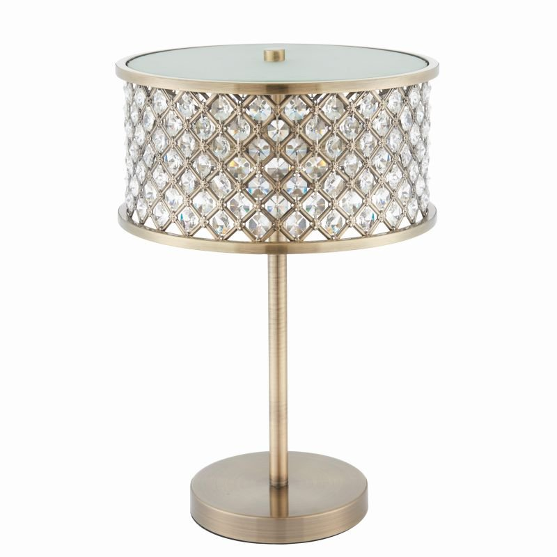 Endon-72749 - Hudson - Crystal & Opal Diffuser with Antique Brass Table Lamp