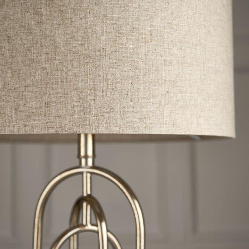 Endon-72803 - Meera - Natural Linen & Antique Silver Table Lamp
