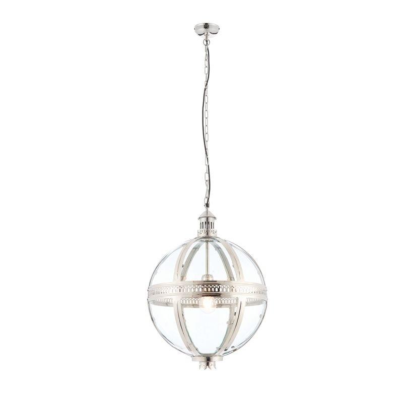 Endon-73108 - Vienna - Clear Glass & Bright Nickel Big Lantern Pendant