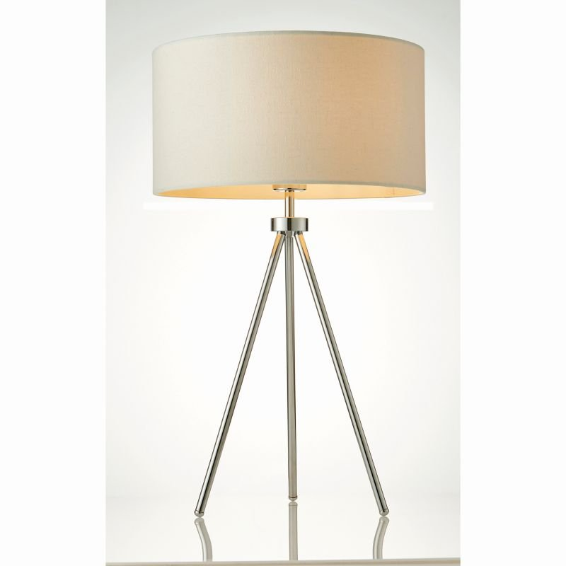Endon-73144 - Tri - Ivory with Chrome Tripod Table Lamp