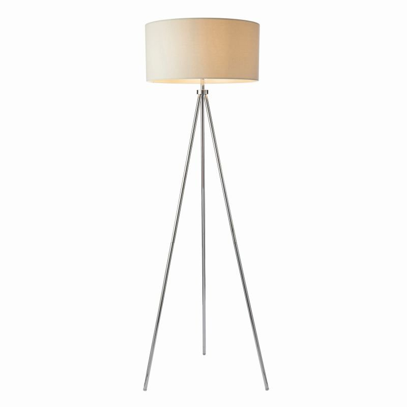 Endon-73145 - Tri - Ivory with Chrome Tripod Floor Lamp