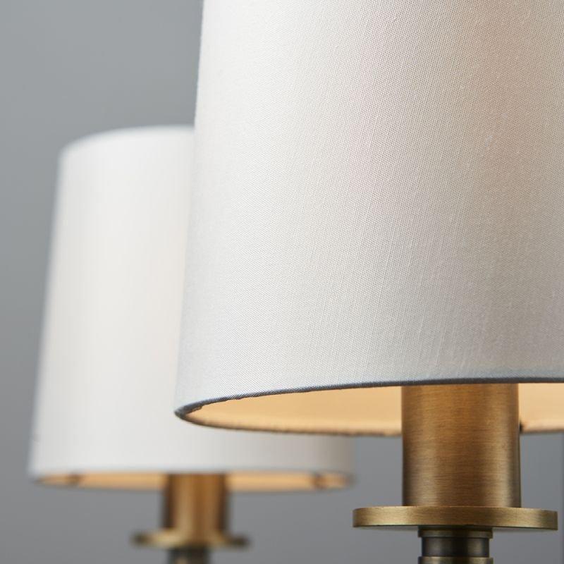 Endon-73411 - Ortona - Vintage White & Matt Antique Brass 3 Light Centre Fitting