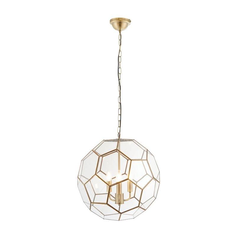Endon-73560 - Miele - Hexagonal Glass & Antique Brass 3 Light Lantern