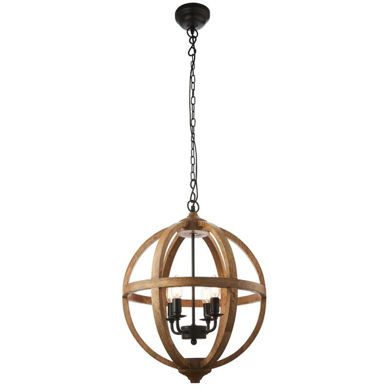 Endon-73575 - Toba - Natural Wood & Dark Bronze 4 Light Pendant