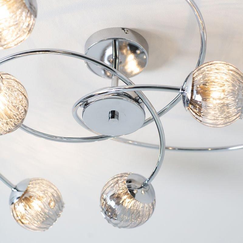 Endon-73582 - Aerith - Smoky Mirror Glass & Chrome 6 Light Semi Flush