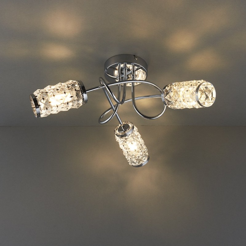Endon-73600 - Colby - Polished Chrome with Glass 3 Light Centre Fitting