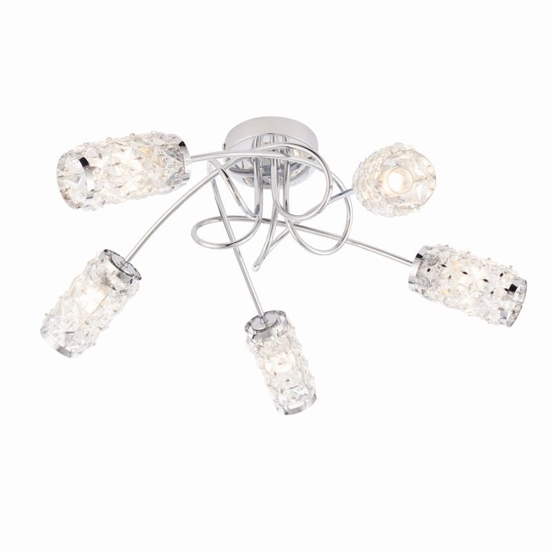 Endon-73601 - Colby - Polished Chrome with Glass 5 Light Centre Fitting