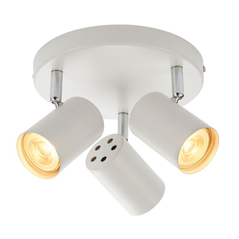 Saxby-73685 - Arezzo - Matt White & Chrome Round 3 Light Spotlights