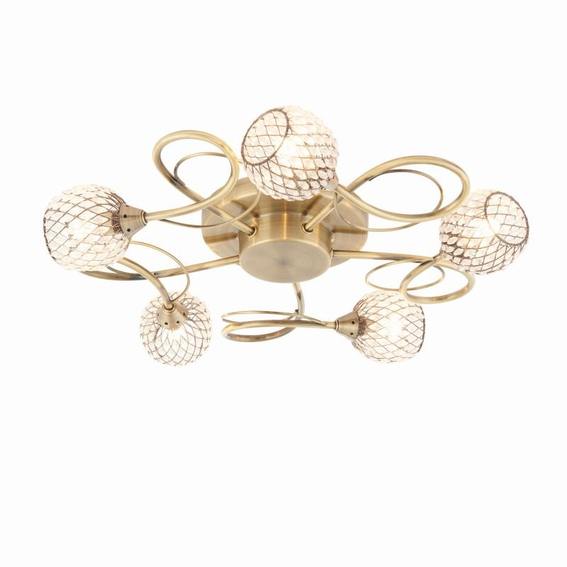 Endon-73757 - Aherne - Decorative Glass with Antique Brass 5 Light Centre Fitting