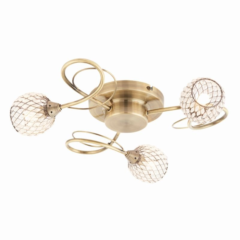 Endon-73758 - Aherne - Decorative Glass with Antique Brass 3 Light Centre Fitting