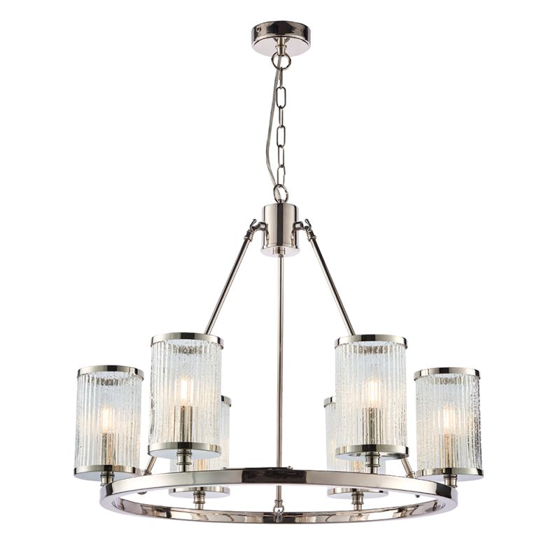 Endon-74128 - Easton - Ribbed with Bubble Glass 6 Light Hanging Pendant