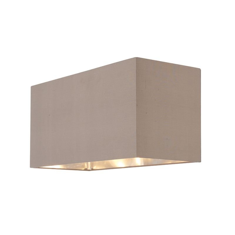 Endon-74418 - Cassier - Shade Only - Large Taupe Silk & Nickel Shade