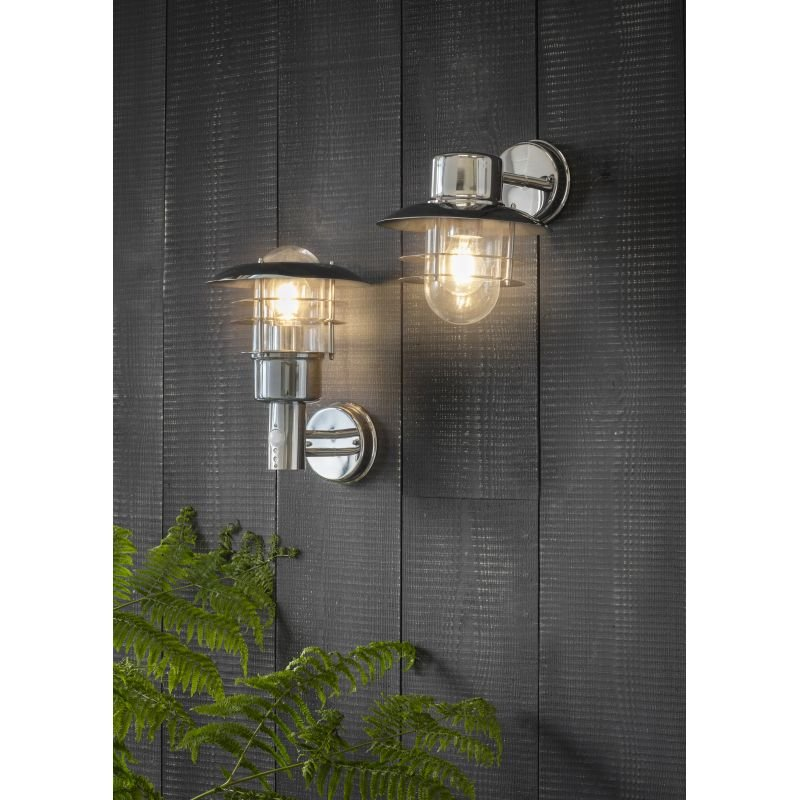 Endon-74702 - Dexter - PIR Polished Stainless Steel and Glass Uplight Wall Lamp