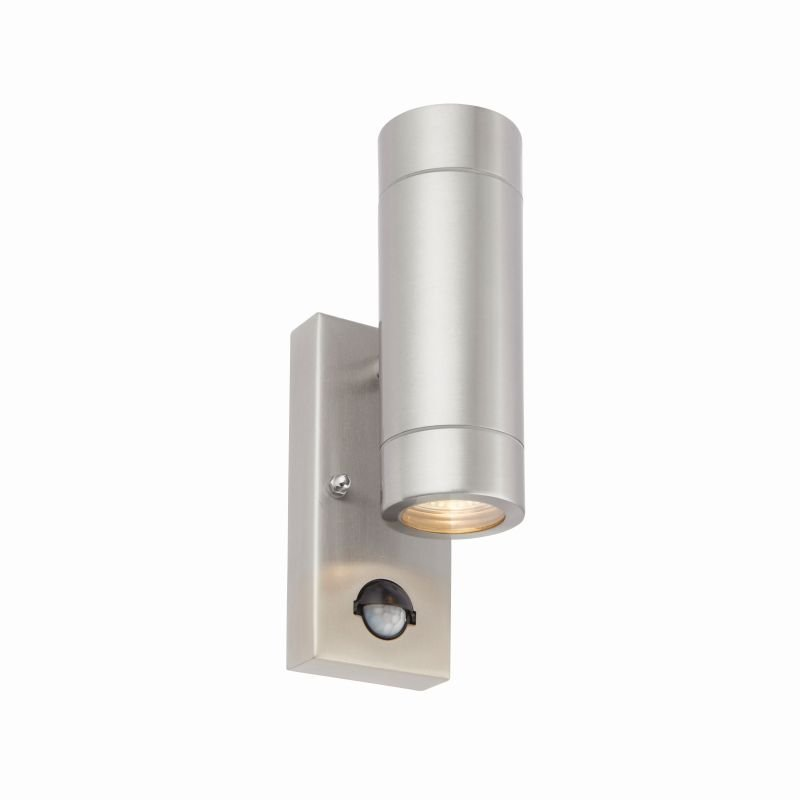 Saxby-75430 - Palin - Brushed Stainless Steel Up&Down PIR Wall Lamp