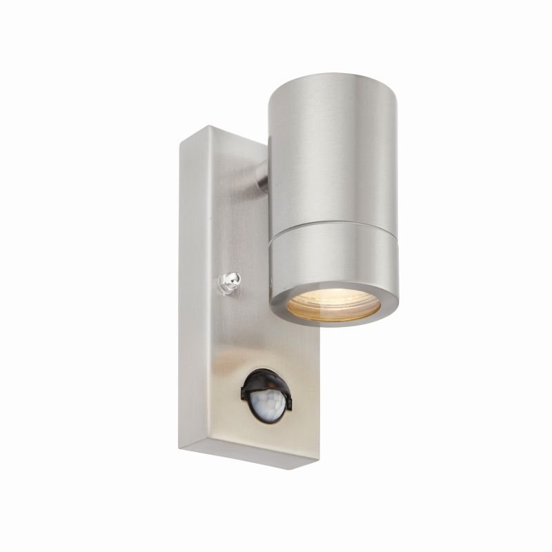 Saxby-75431 - Palin - Brushed Stainless Steel Downlight PIR Wall Lamp