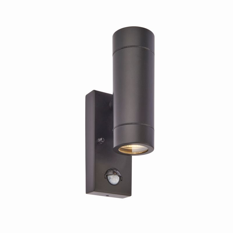 Saxby-75433 - Palin - Outdoor Black Up&Down PIR Wall Lamp