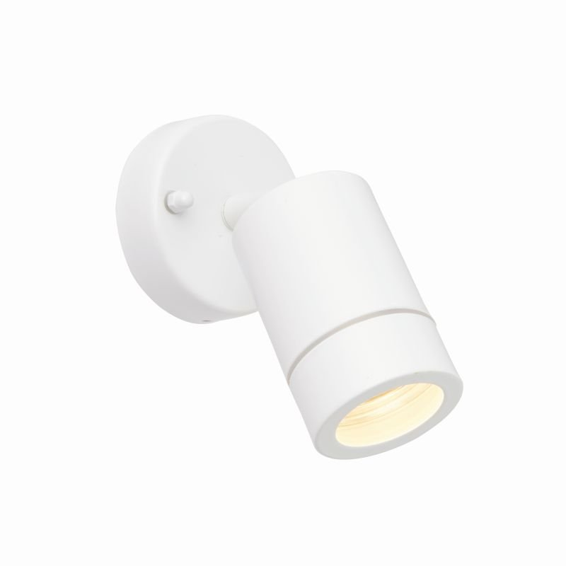 Saxby-75443 - Palin - Outdoor White Single Spot Wall Lamp