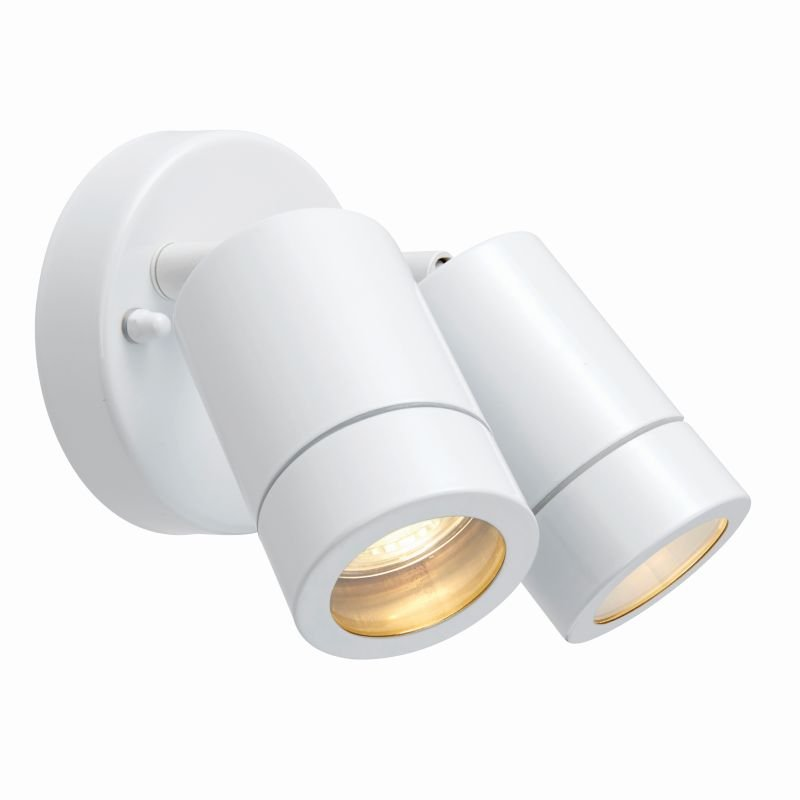 Saxby-75444 - Palin - Outdoor White Twin Spot Wall Lamp