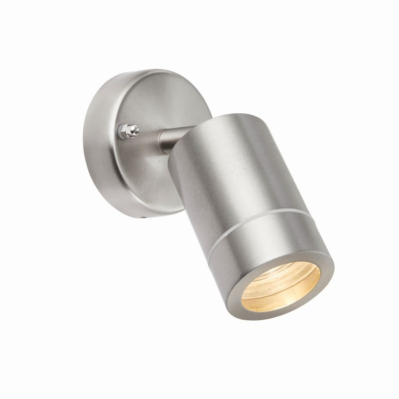 Saxby-75448 - Palin - Brushed Stainless Steel Single Spot Wall Lamp