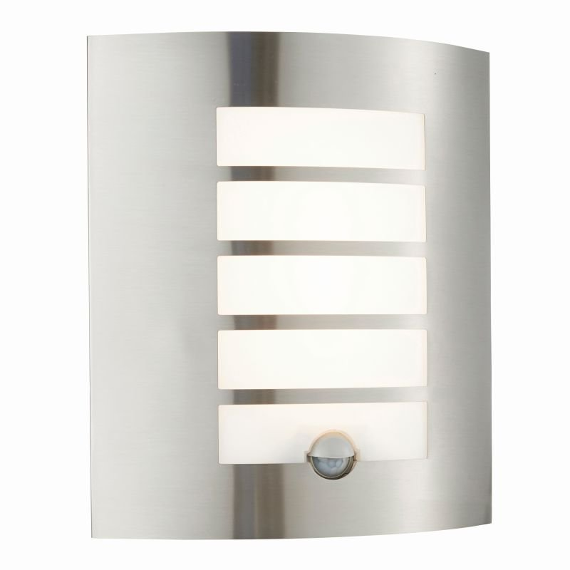 Saxby-75931 - Bianco - LED Opal & Stainless Steel PIR Wall Lamp