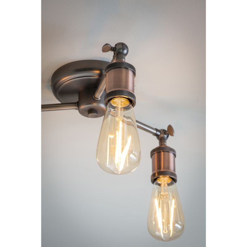 Endon-76124 - Hal - Aged Pewter and Aged Copper 3 Light Centre Fitting
