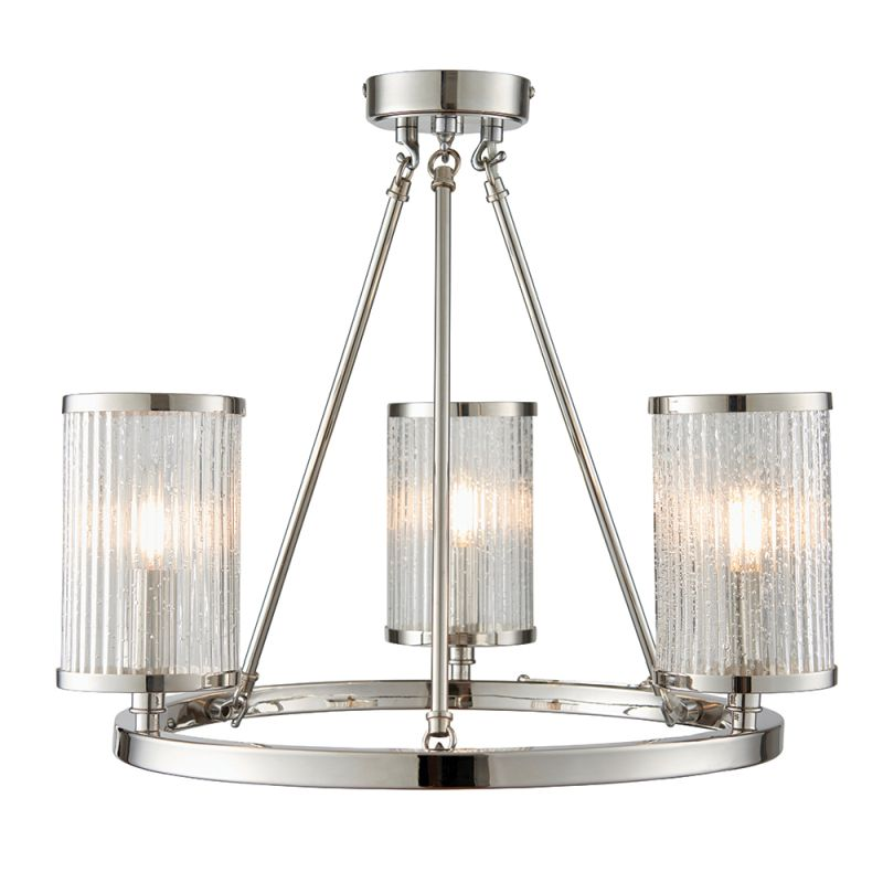 Endon-76261 - Easton - Ribbed with Bubble Glass 3 Light Ceiling Lamp