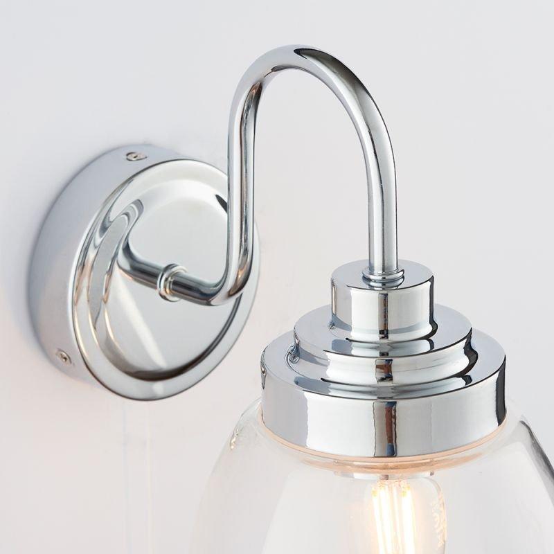 Endon-76304 - Hampton - Bathroom Clear Glass & Chrome Wall Lamp
