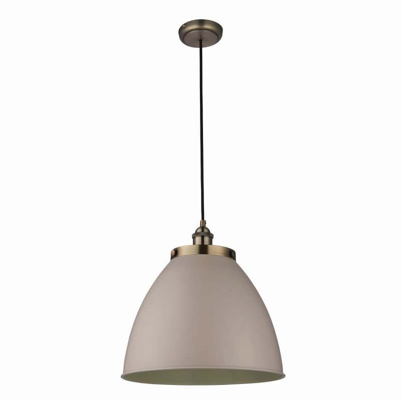 Endon-76327 - Franklin - Vintage Stone with Antique Brass Big Pendant