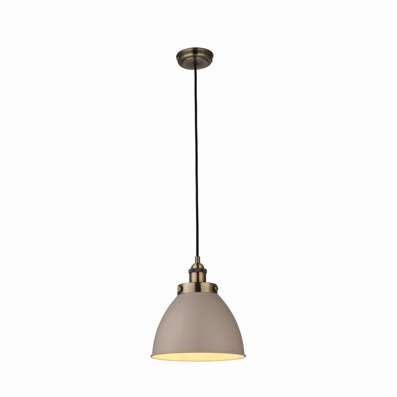 Endon-76328 - Franklin - Vintage Stone with Antique Brass Small Pendant