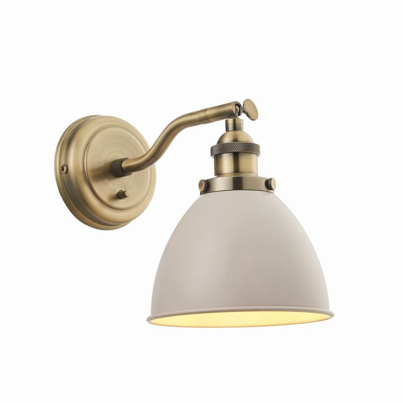 Endon-76330 - Franklin - Taupe with Antique Brass Wall Lamp