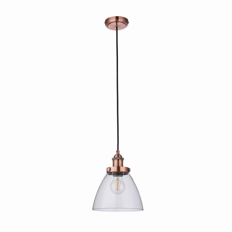 Endon-76332 - Hansen - Aged Copper with Clear Glass Hanging Pendant