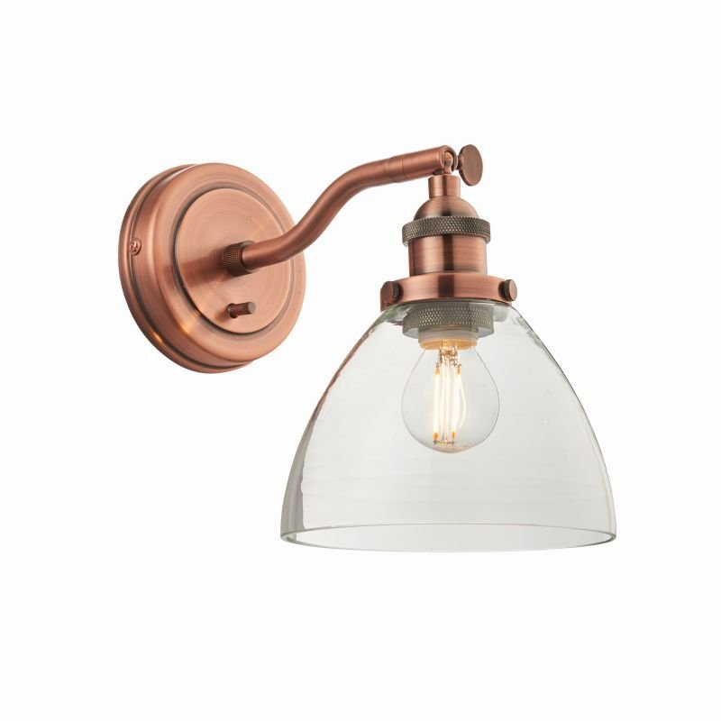 Endon-76334 - Hansen - Aged Copper with Clear Glass Wall Lamp