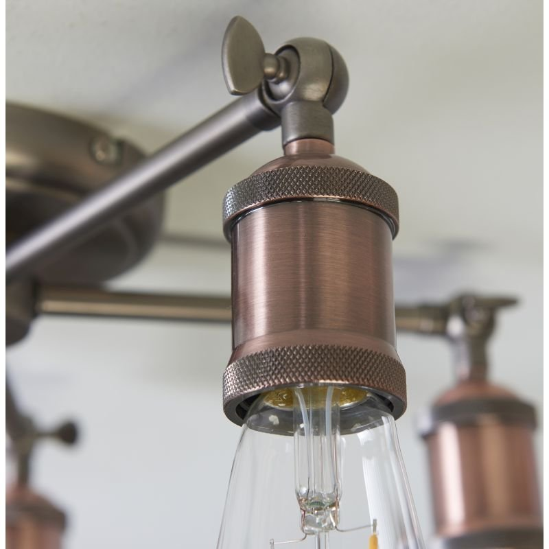 Endon-76336 - Hal - Aged Pewter and Aged Copper 5 Light Centre Fitting