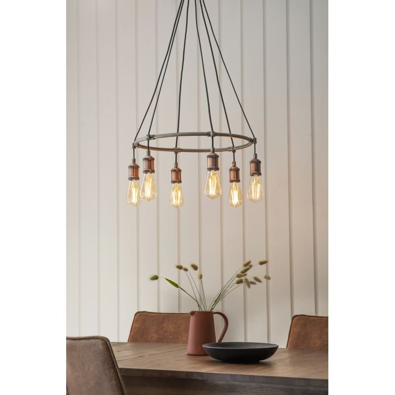 Endon-76337 - Hal - Aged Pewter and Aged Copper 6 Light Centre Fitting