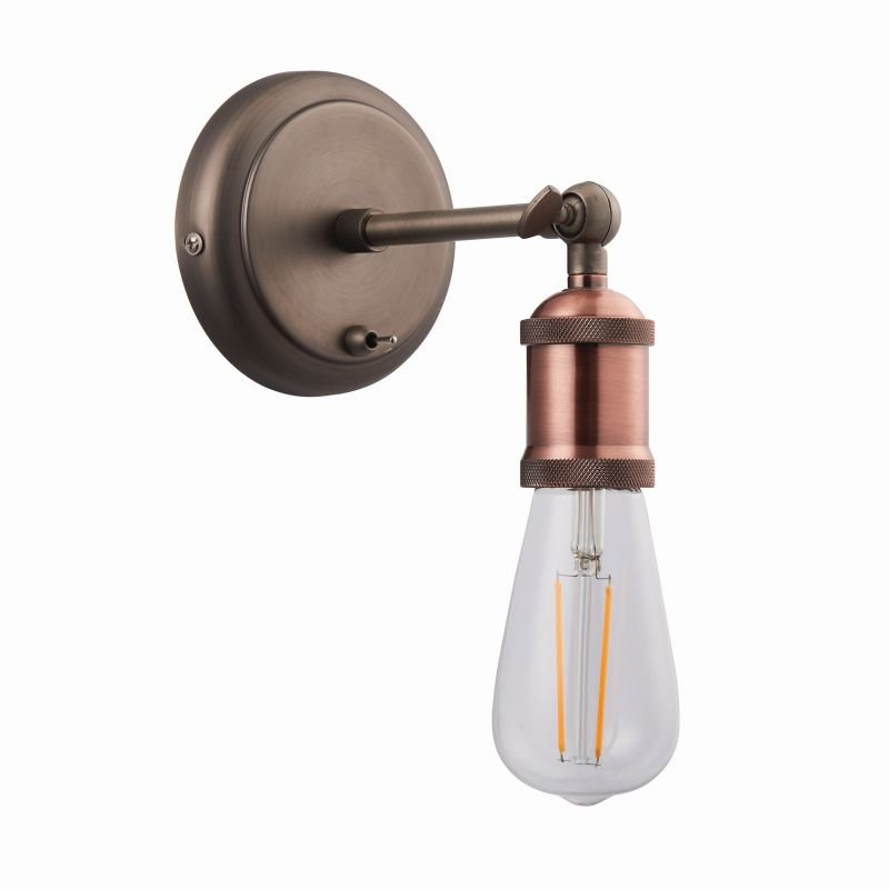 Endon-76338 - Hal - Aged Pewter and Aged Copper Wall Lamp