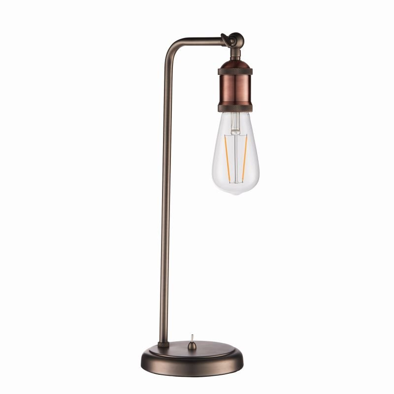 Endon-76339 - Hal - Aged Pewter and Aged Copper Big Table Lamp