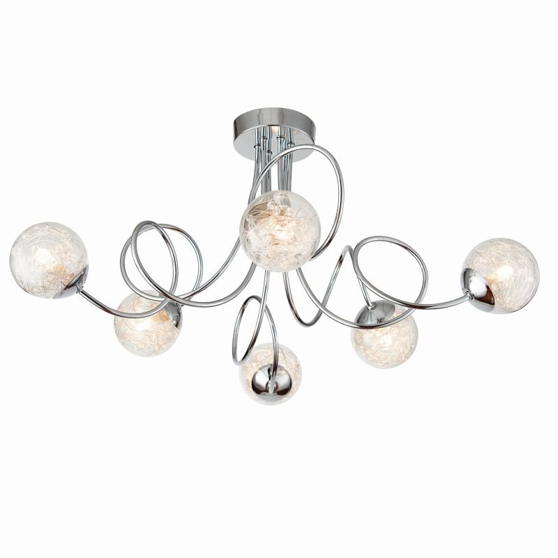 Endon-76349 - Auria - Clear Glass with Striking Pattern 6 Light Ceiling Lamp