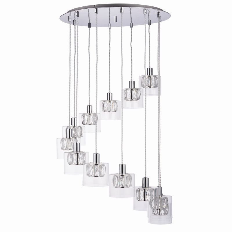 Endon-76518 - Verina - Crystal and Clear Glass Diffuser 12 Light Cluster Pendant