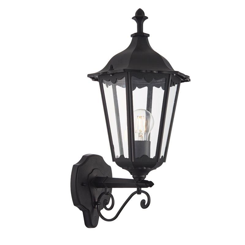 Endon-76546 - Burford - Matt Black & Clear Glass Wall Lamp