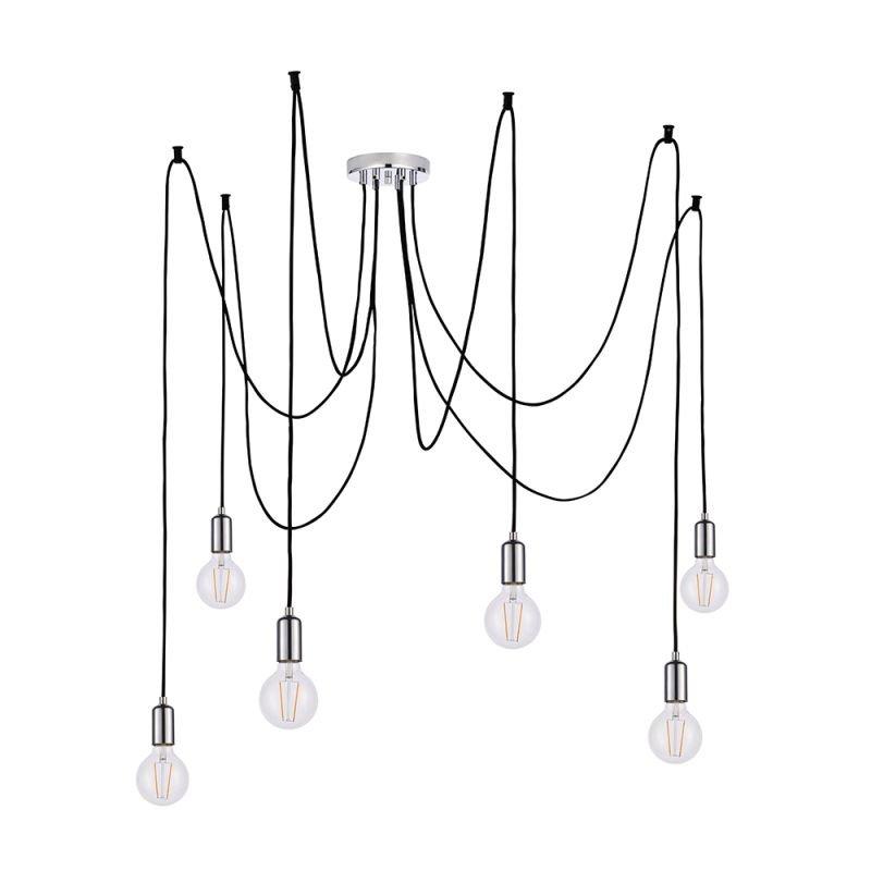 Endon-76577 - Studio - Chrome & Black 6 Light Spider Pendant
