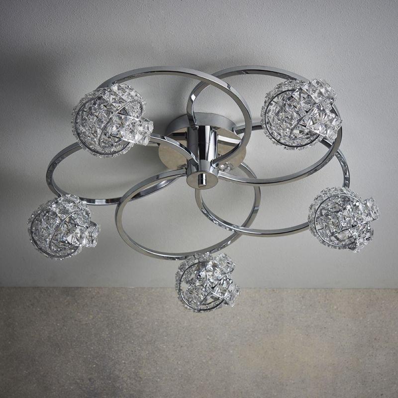 Endon-76595 - Talia - Crystal & Chrome 5 Light Ceiling Lamp