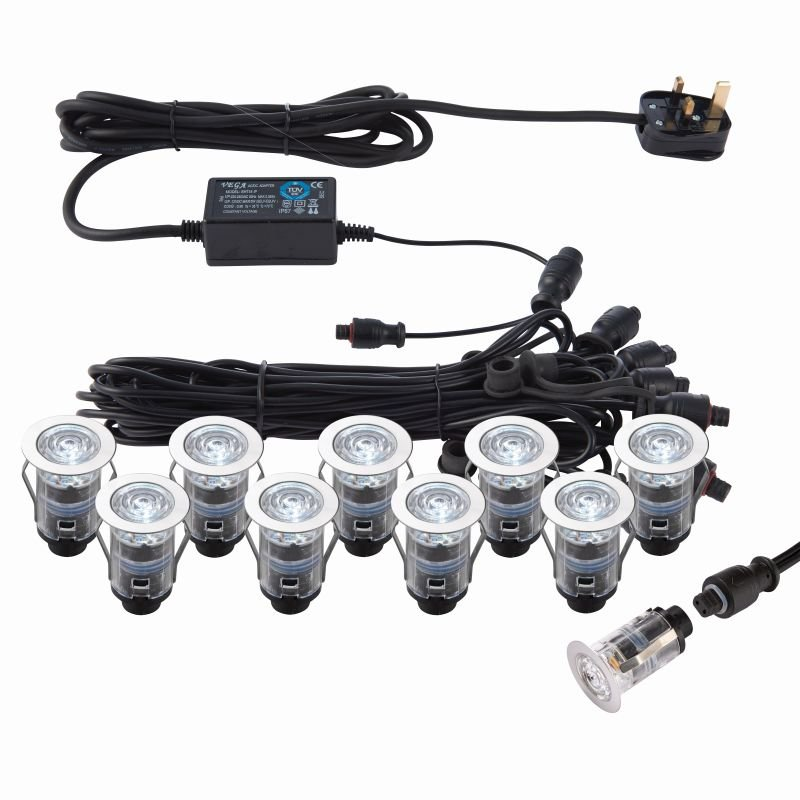 Saxby-76615 - Ikon - Set of 10 Decking Lights ∅2.5 cm CCT 6500K/Blue K