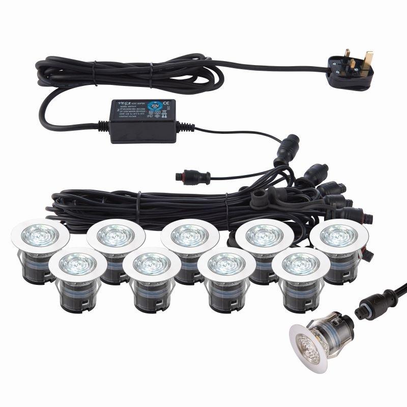 Saxby-76616 - Ikon - Set of 10 Decking Lights ∅3.5 cm CCT 6500K/Blue K